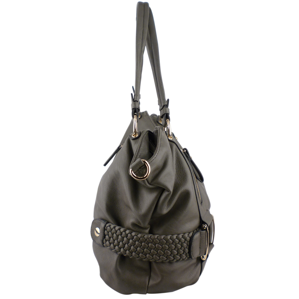 SAMANTHA Pewter Weave Pattern Soft Hobo Handbag Side