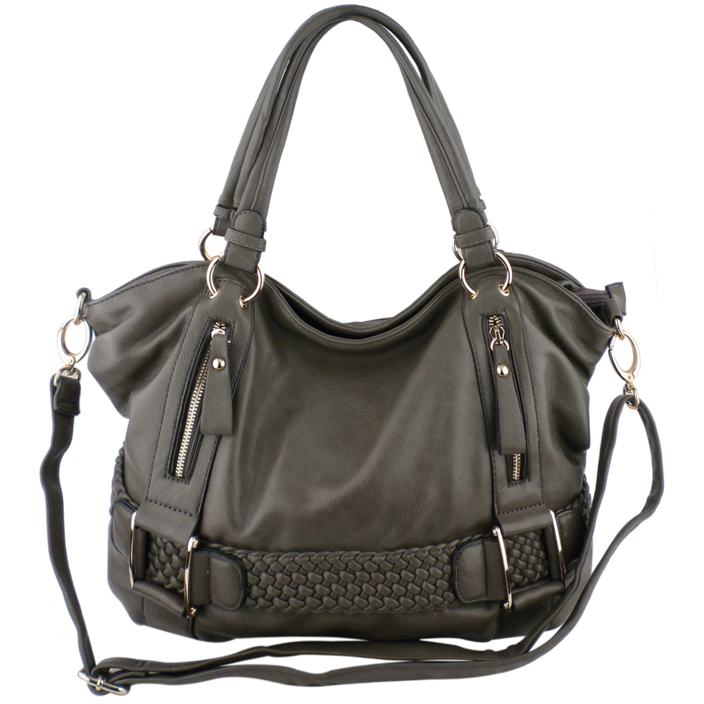 SAMANTHA Pewter Weave Pattern Soft Hobo Handbag Main