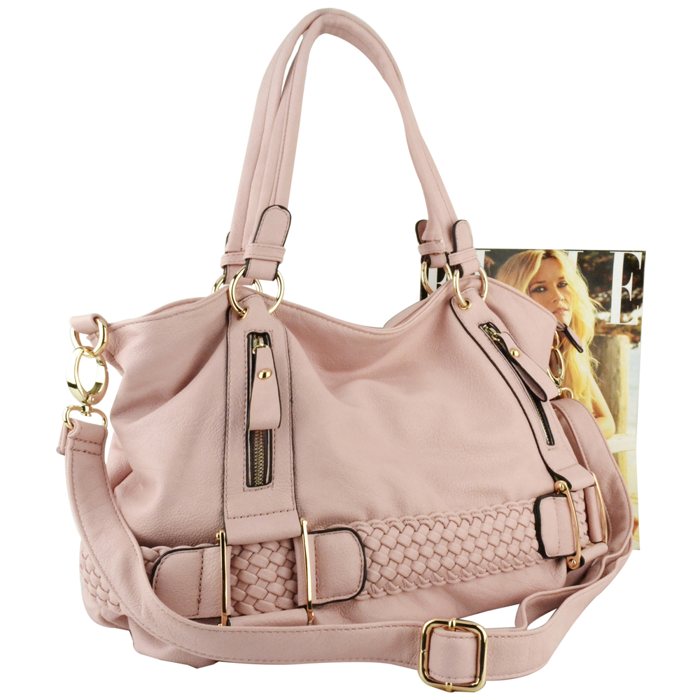 SAMANTHA Pink Weave Pattern Soft Hobo Handbag Size