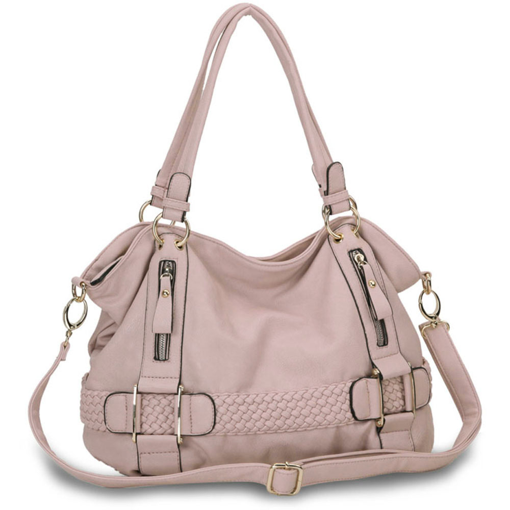 SAMANTHA Pink Weave Pattern Soft Hobo Handbag Main