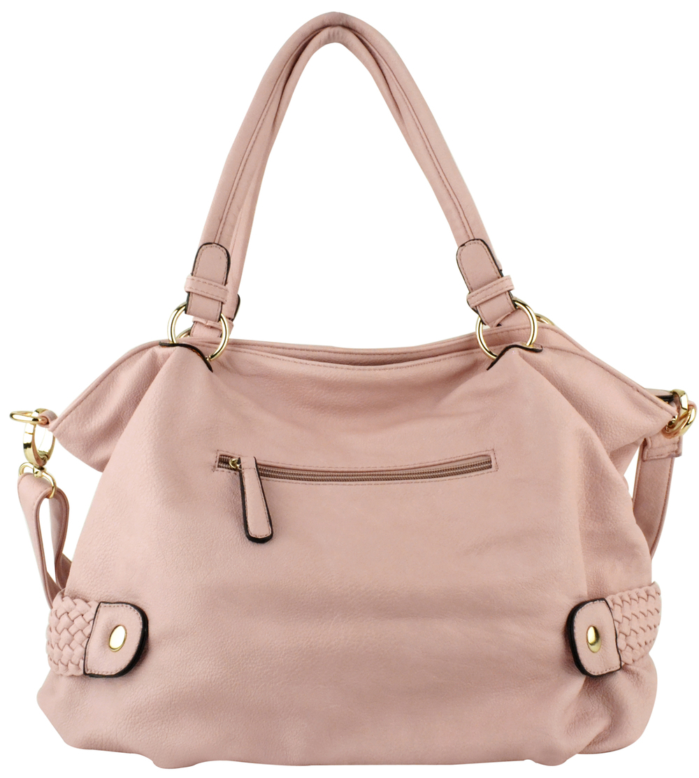 SAMANTHA Pink Weave Pattern Soft Hobo Handbag Back