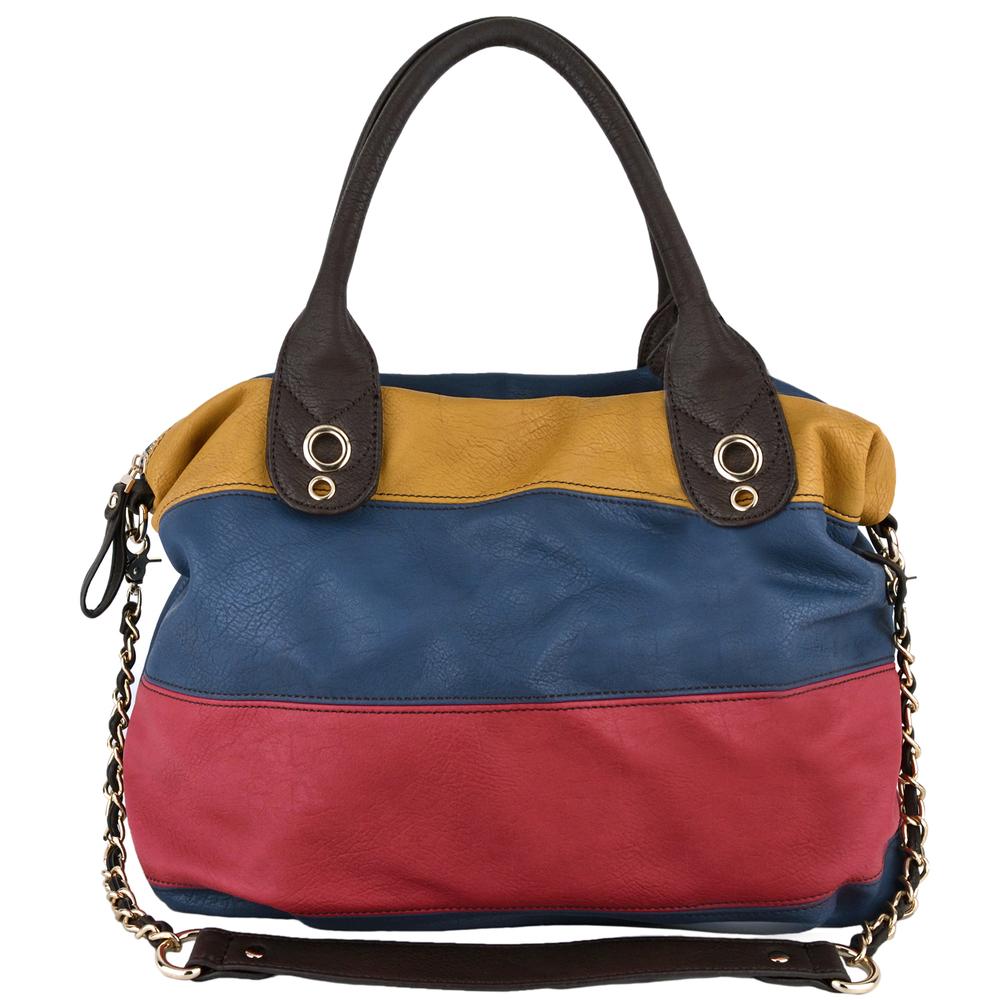 MAYA Blue Large Shopper Hobo Handbag Front