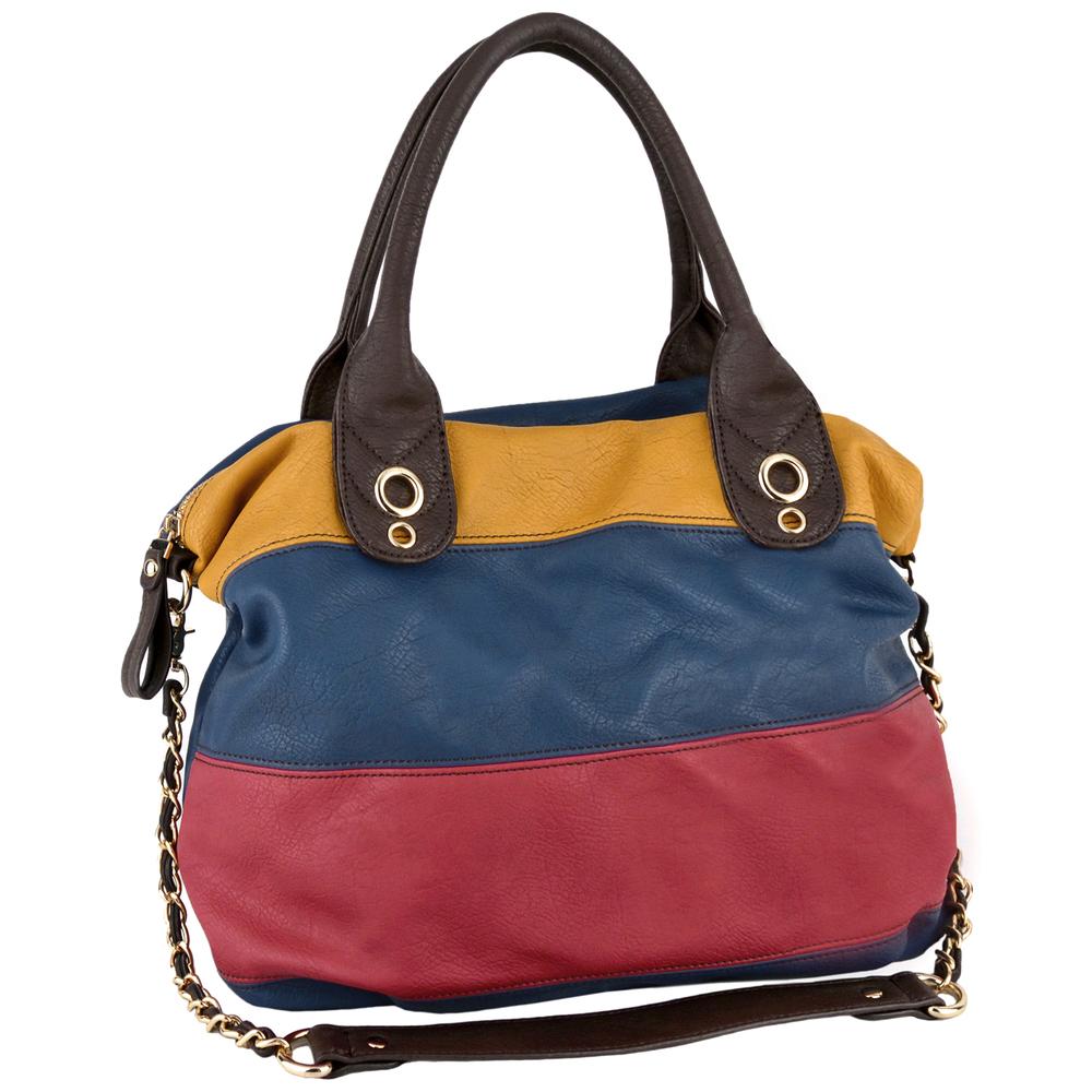MAYA Blue Large Shopper Hobo Handbag Main