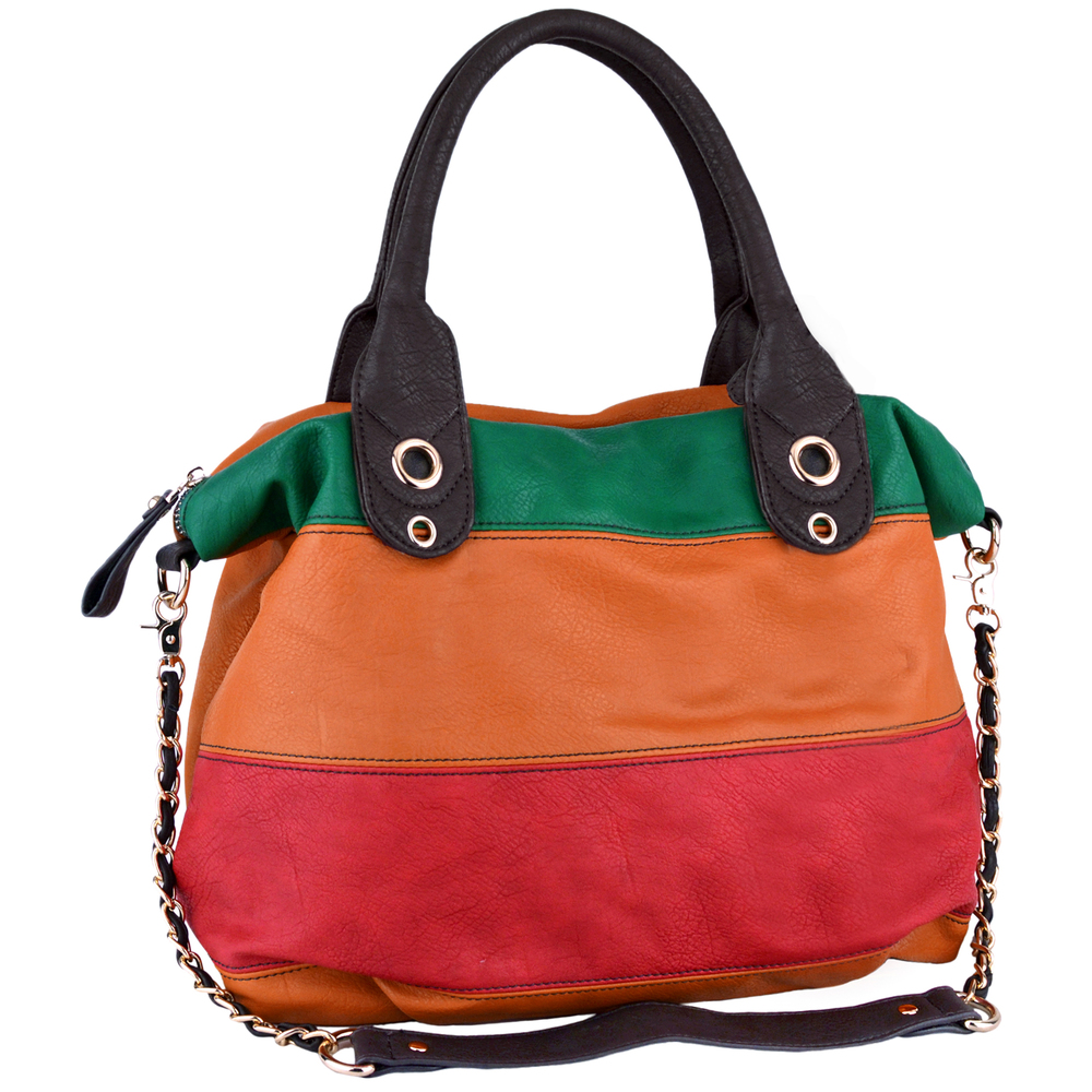 MAYA Orange Large Shopper Hobo Handbag Main