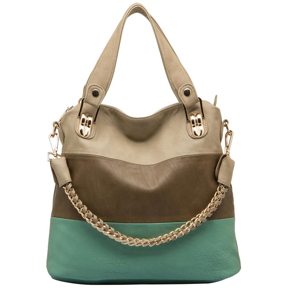 ECE Turquoise Tri-tone Hobo Handbag Front