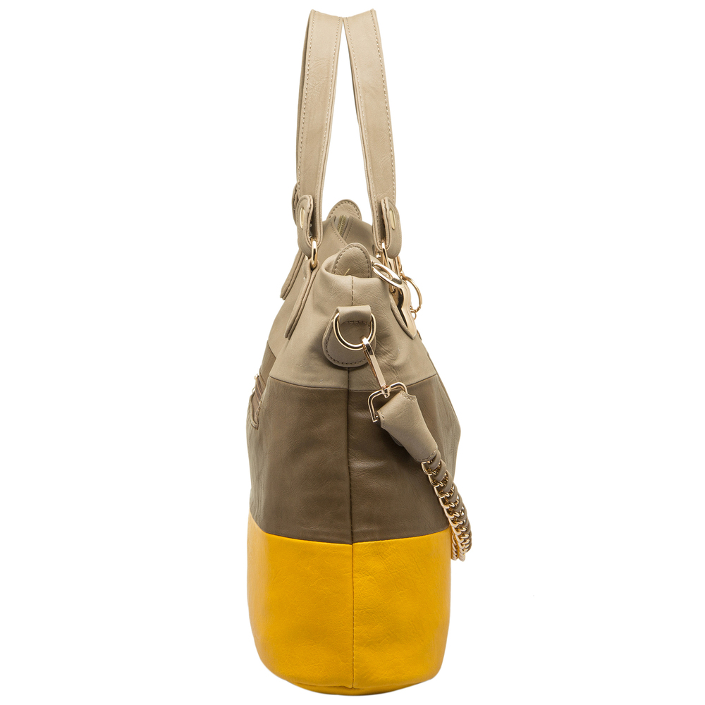 ECE Yellow Tri-tone Hobo Handbag Side