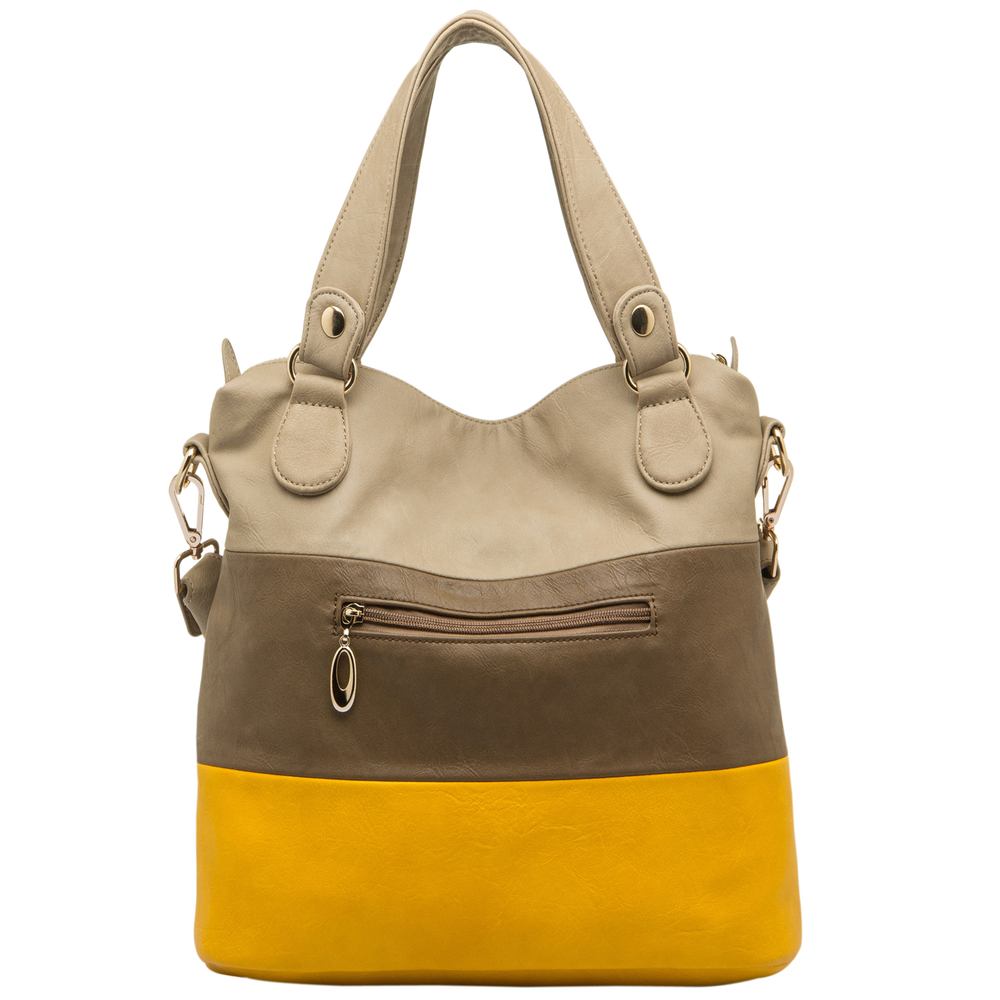 ECE Yellow Tri-tone Hobo Handbag Back