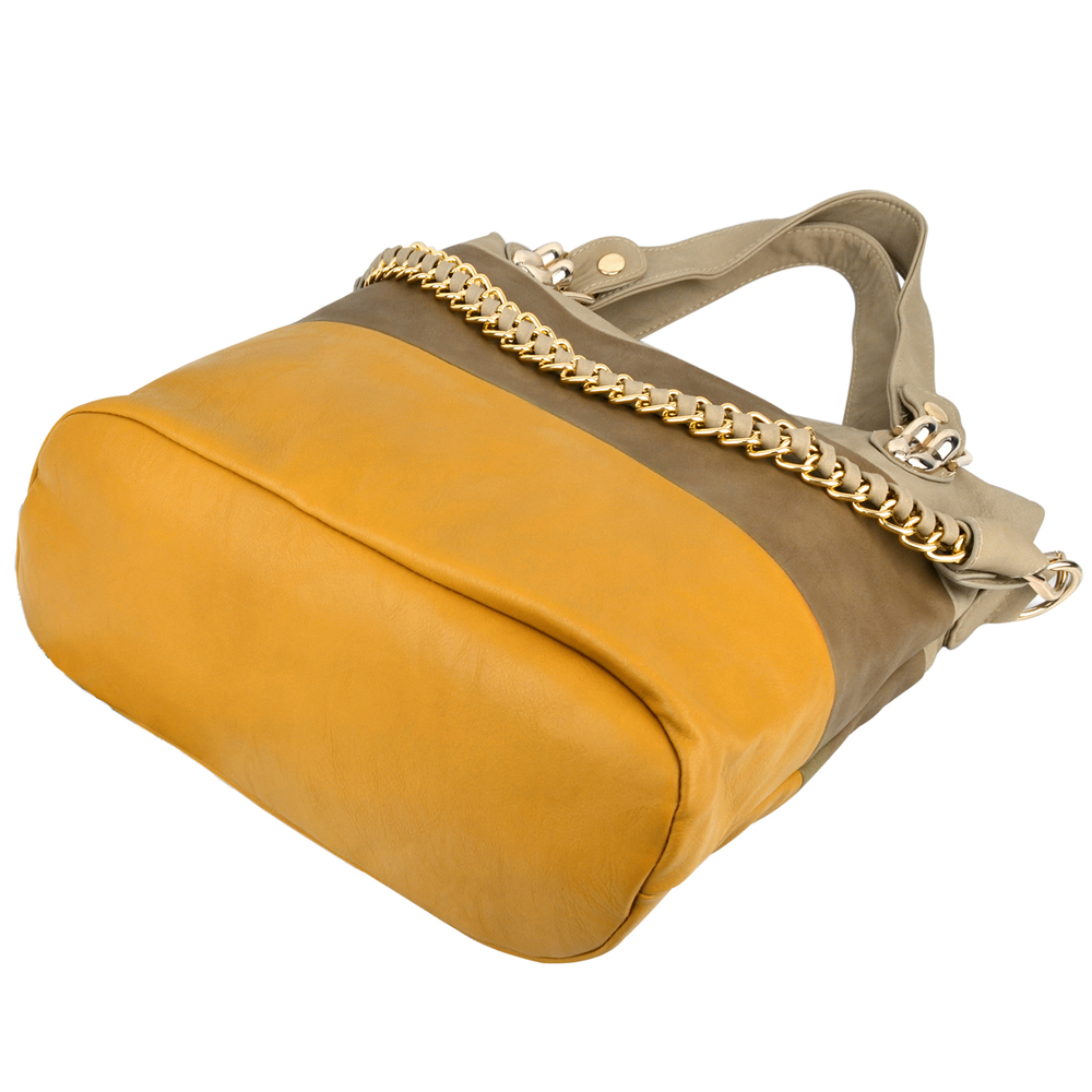 ECE Yellow Tri-tone Hobo Handbag Bottom
