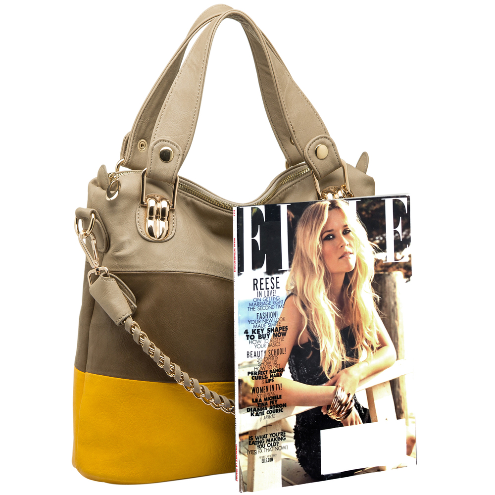 ECE Yellow Tri-tone Hobo Handbag Size