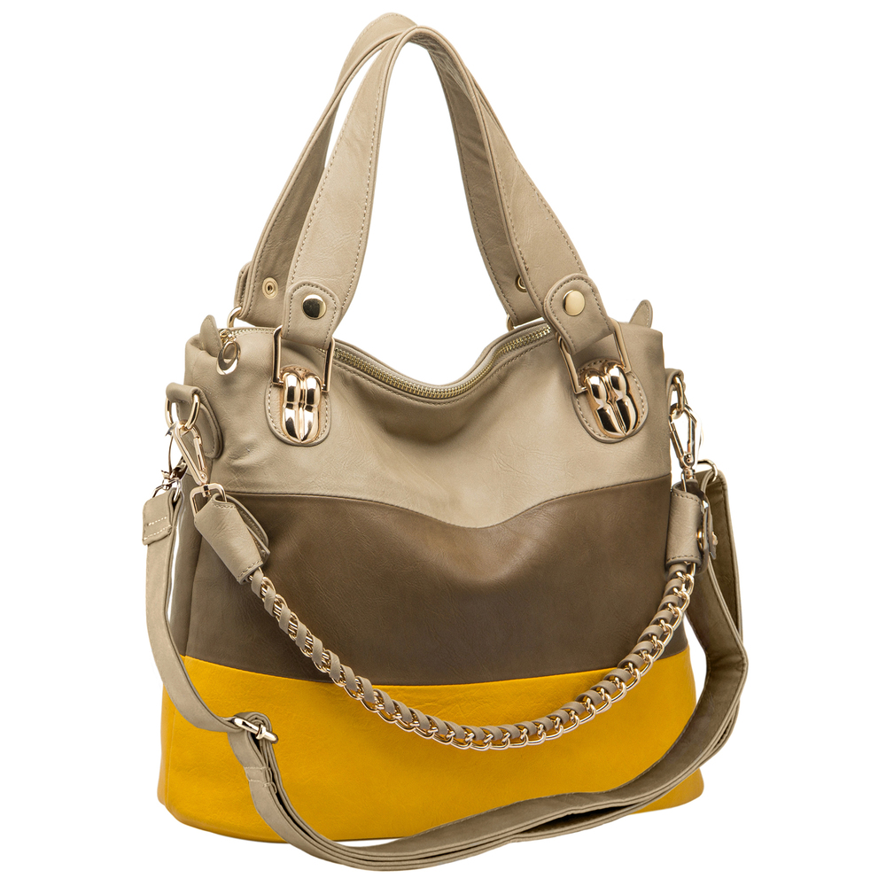 ECE Yellow Tri-tone Hobo Handbag Main