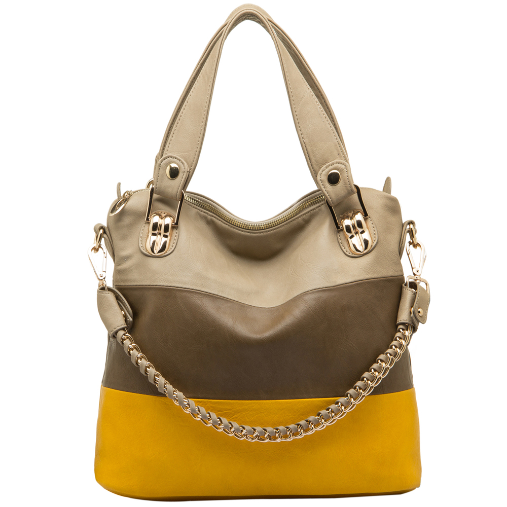 ECE Yellow Tri-tone Hobo Handbag Front