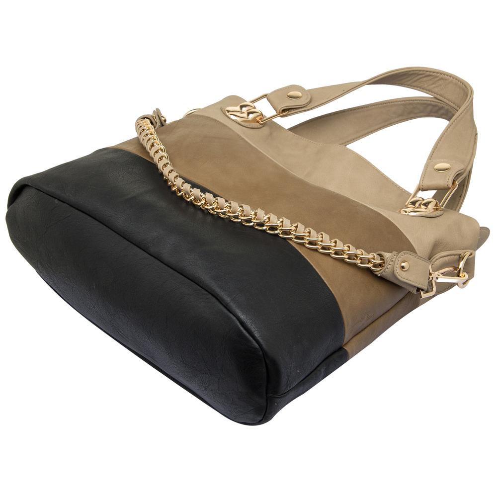 ECE Black Tri-tone Hobo Tote Handbag Bottom
