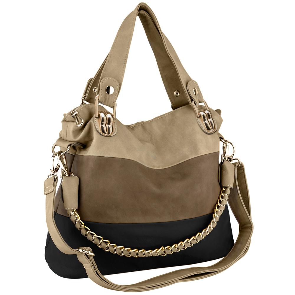 ECE Black Tri-tone Hobo Tote Handbag Main
