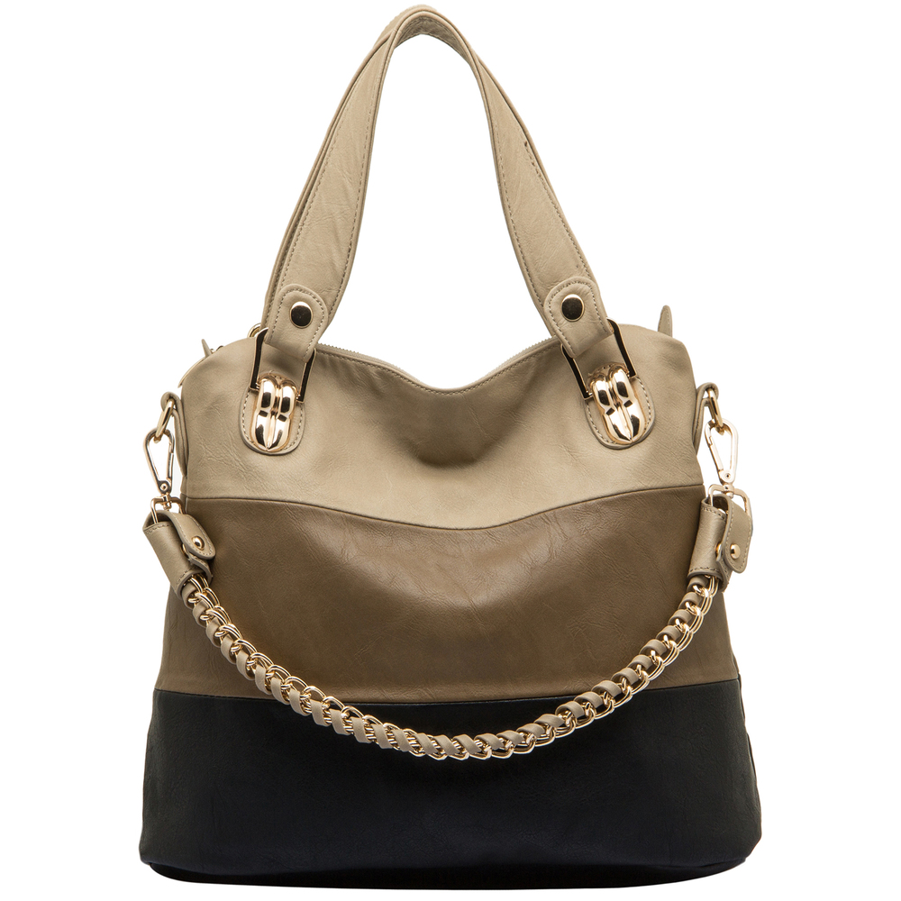ECE Black Tri-tone Hobo Tote Handbag Front
