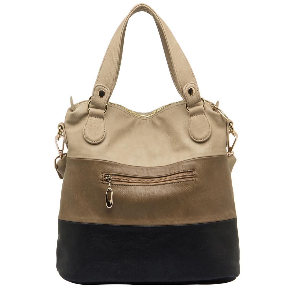 ECE Black Tri-tone Hobo Tote Handbag Back