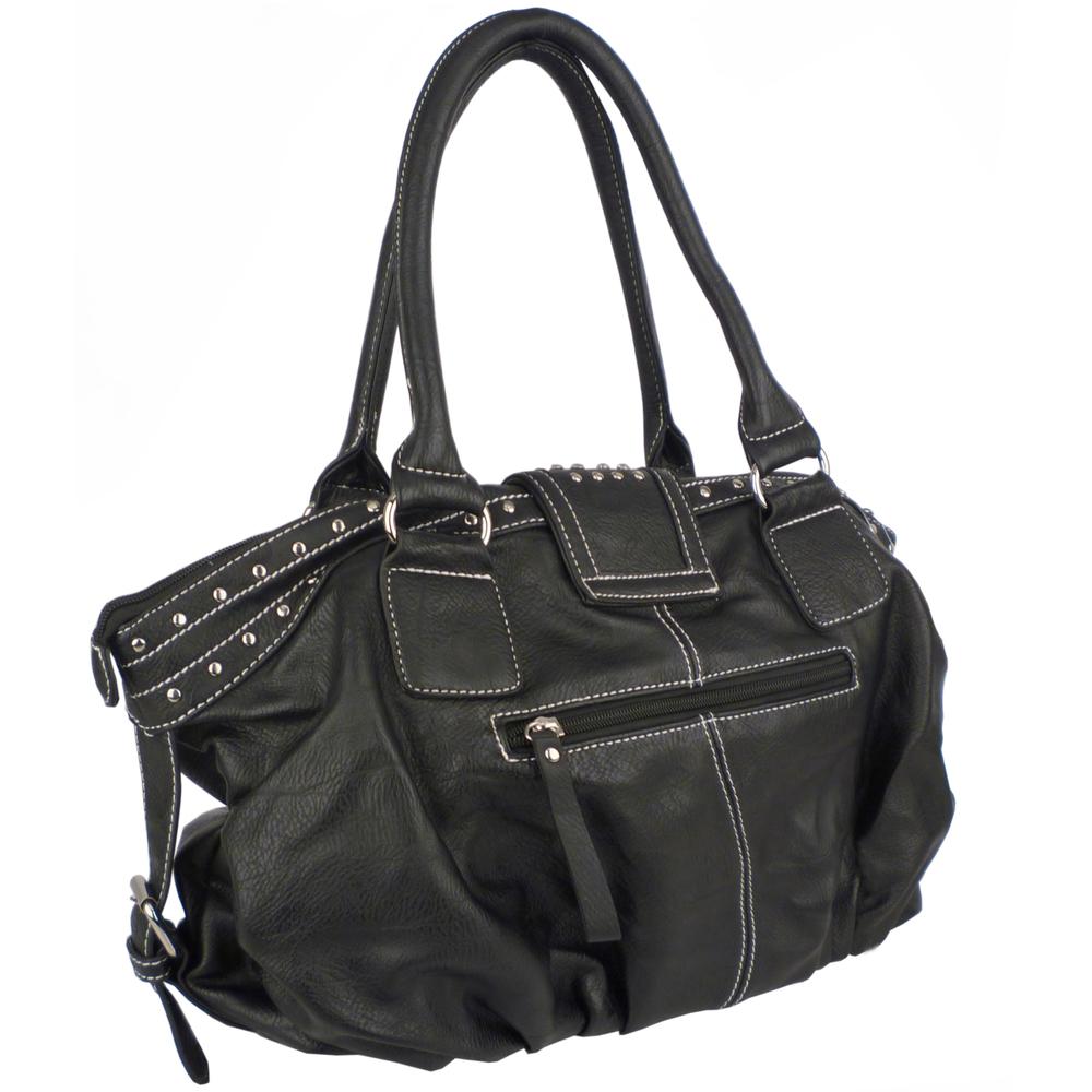 BRENNA Black Studded Soft Shopper Style Hobo Handbag Side and Back Image