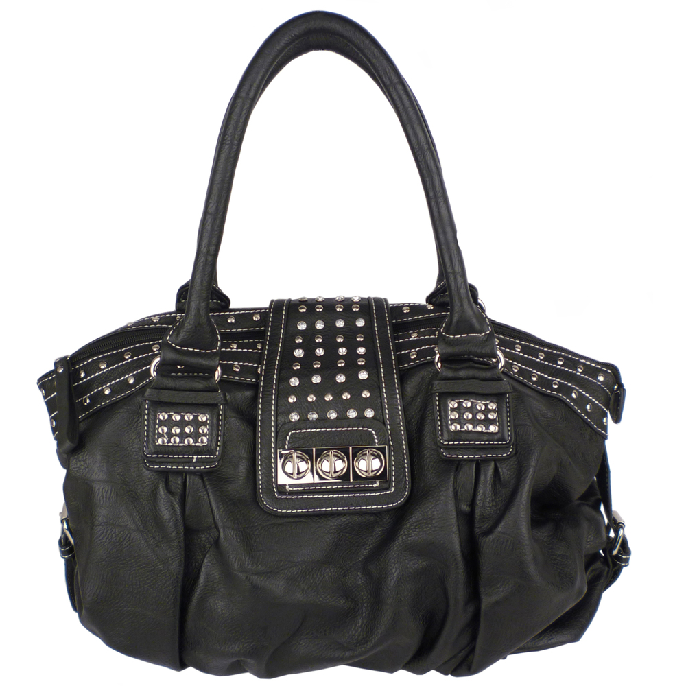 BRENNA Black Studded Soft Shopper Style Hobo Handbag Main