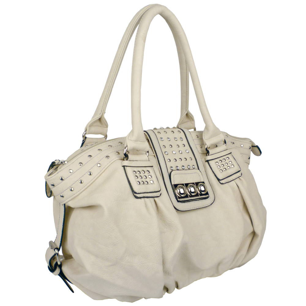 BRENNA Beige Studded Soft Shopper Style Hobo Handbag Angled