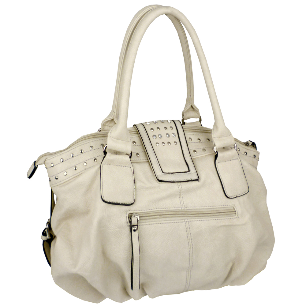 BRENNA Beige Studded Soft Shopper Style Hobo Handbag Angled 2