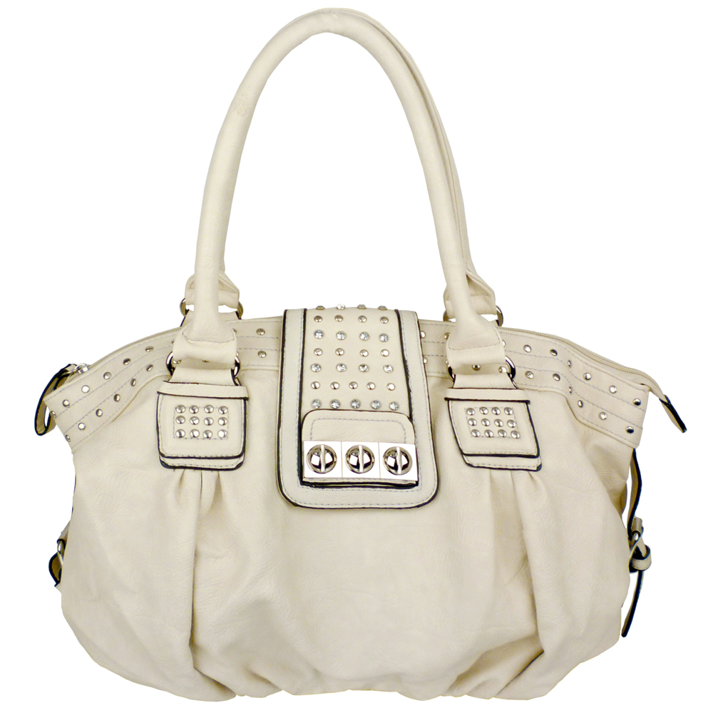 BRENNA Beige Studded Soft Shopper Style Hobo Handbag Main