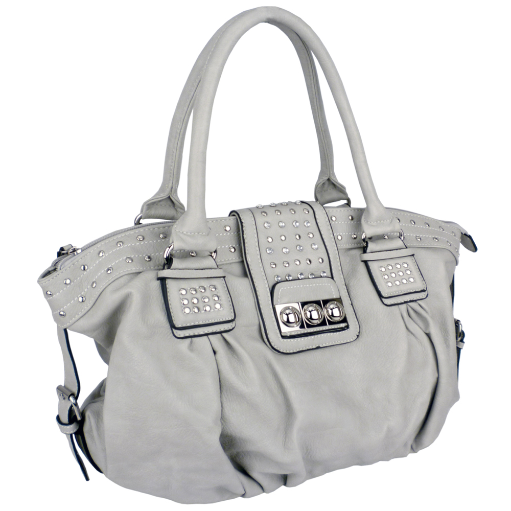 BRENNA Grey Studded Soft Shopper Style Hobo Handbag Angled