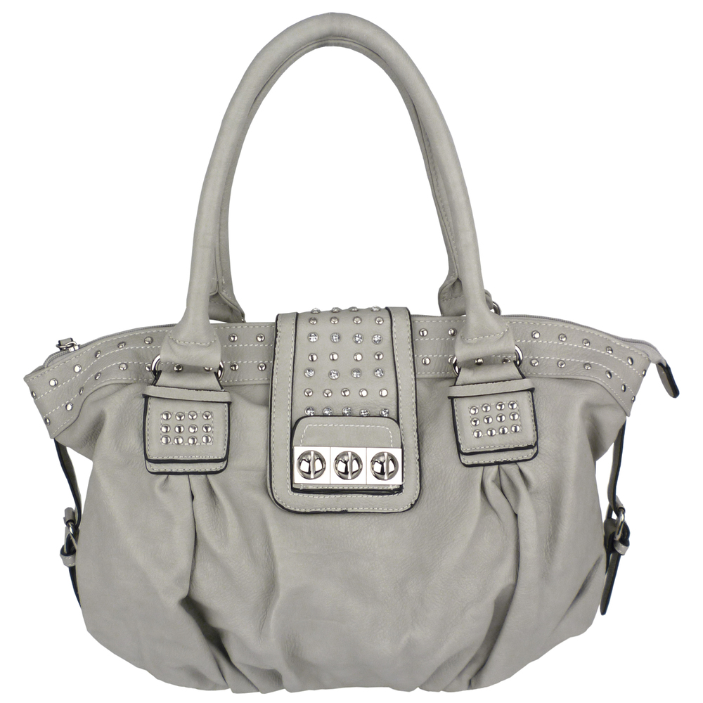 BRENNA Grey Studded Soft Shopper Style Hobo Handbag Main