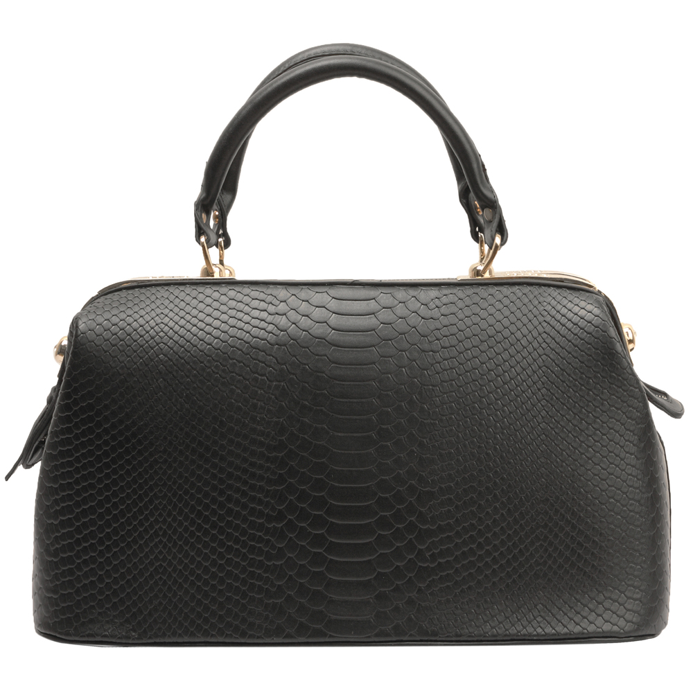 ELPIDA Black Faux-Crocodile Tote Purse Front
