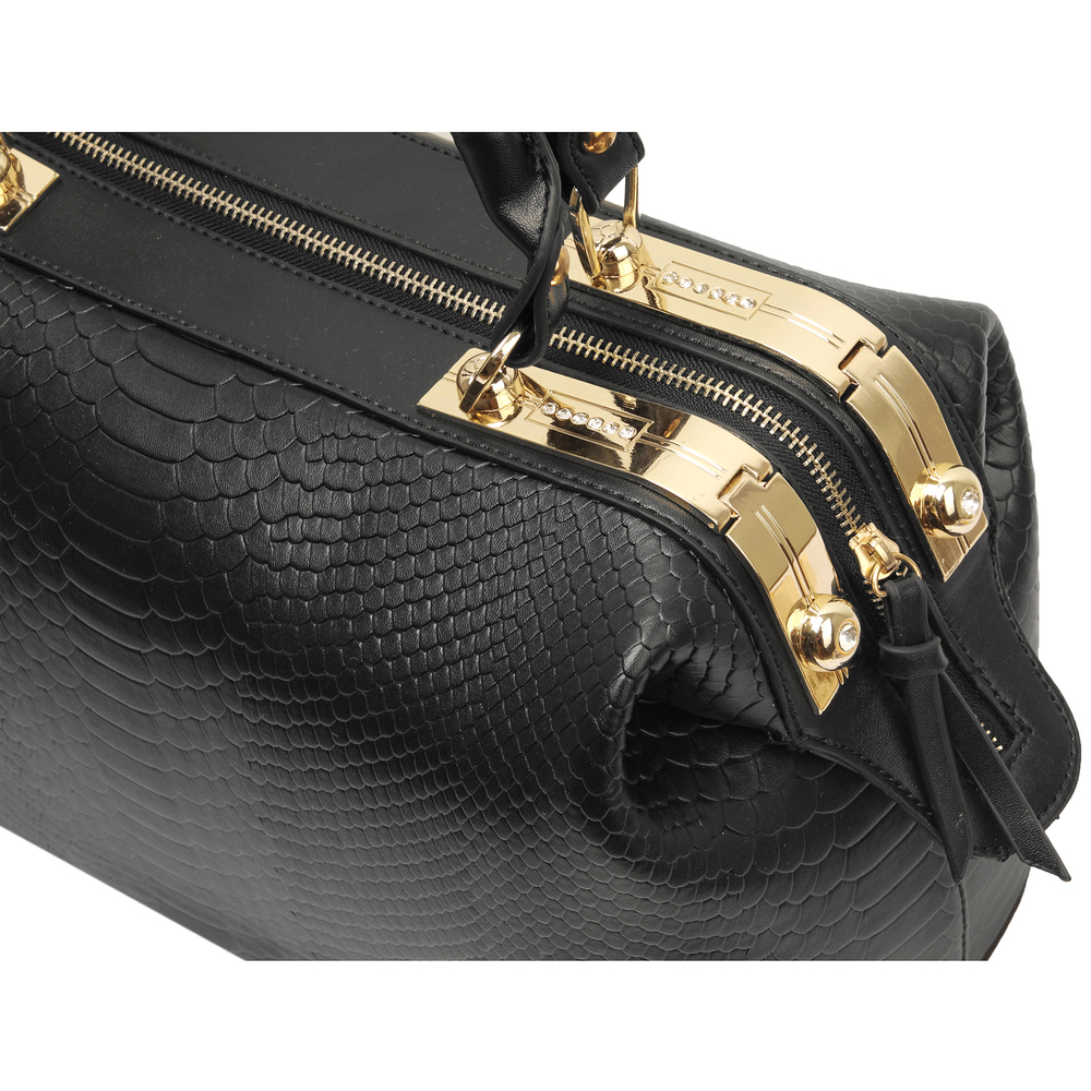 ELPIDA Black Faux-Crocodile Tote Purse Top Closeup