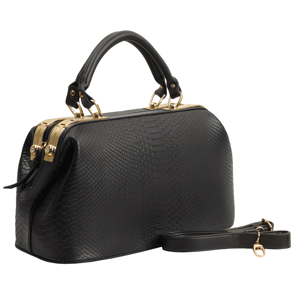 ELPIDA Black Faux-Crocodile Tote Purse Main
