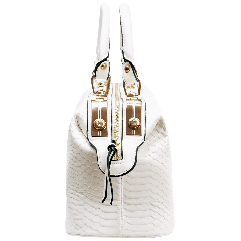 ELPIDA White Faux-Crocodile Tote Purse Side