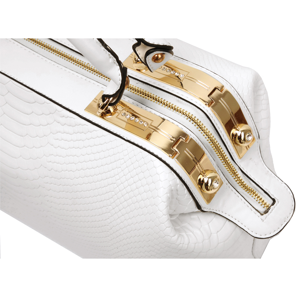 ELPIDA White Faux-Crocodile Tote Purse Closeup