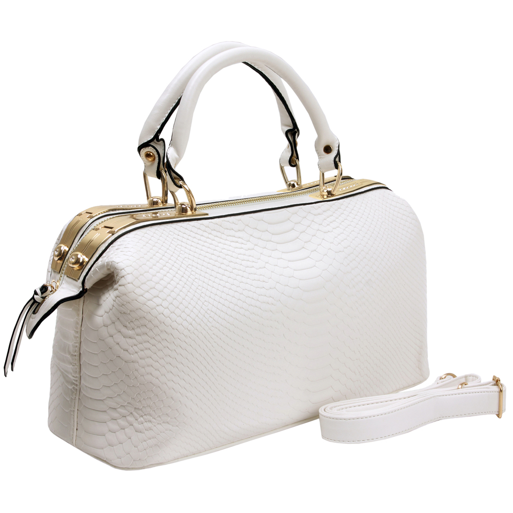 ELPIDA White Faux-Crocodile Tote Purse Main