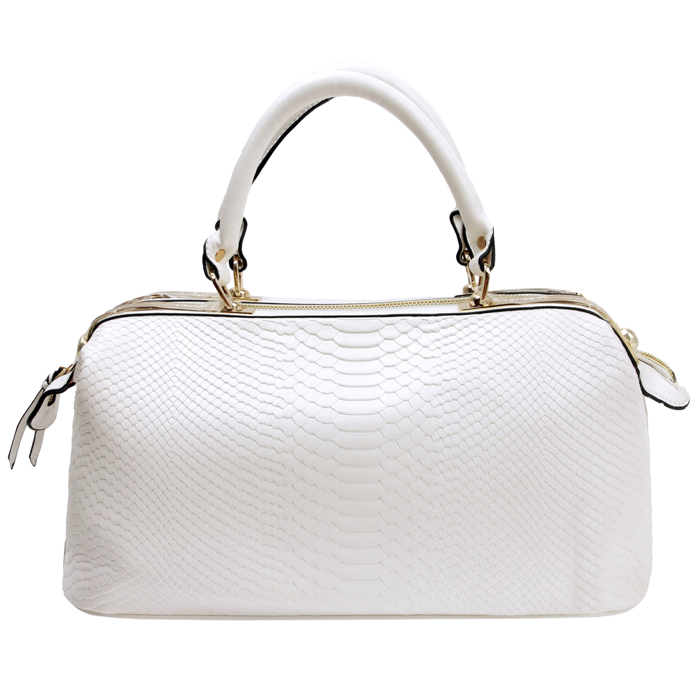 ELPIDA White Faux-Crocodile Tote Purse Front