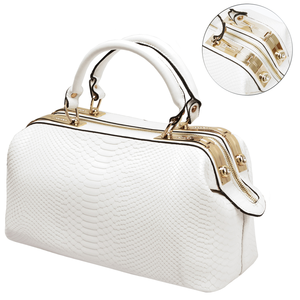 ELPIDA White Faux-Crocodile Tote Purse Detail