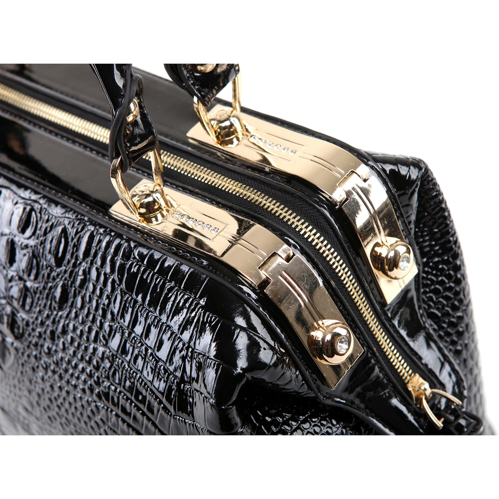 ELPIDA Black High Gloss Faux-Crocodile Tote Purse Closeup
