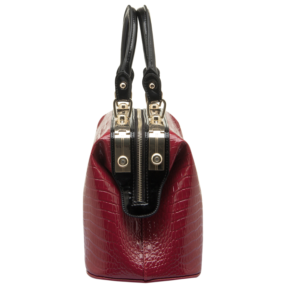 ELPIDA Red High Gloss Faux-Crocodile Tote Purse Side