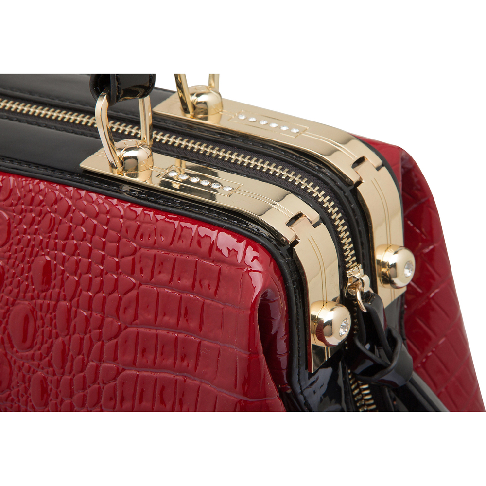ELPIDA Red High Gloss Faux-Crocodile Tote Purse Closeup