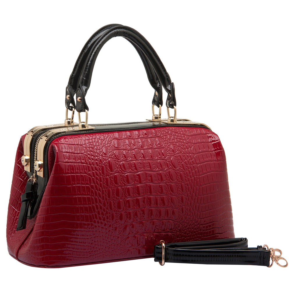 ELPIDA Red High Gloss Faux-Crocodile Tote Purse Main