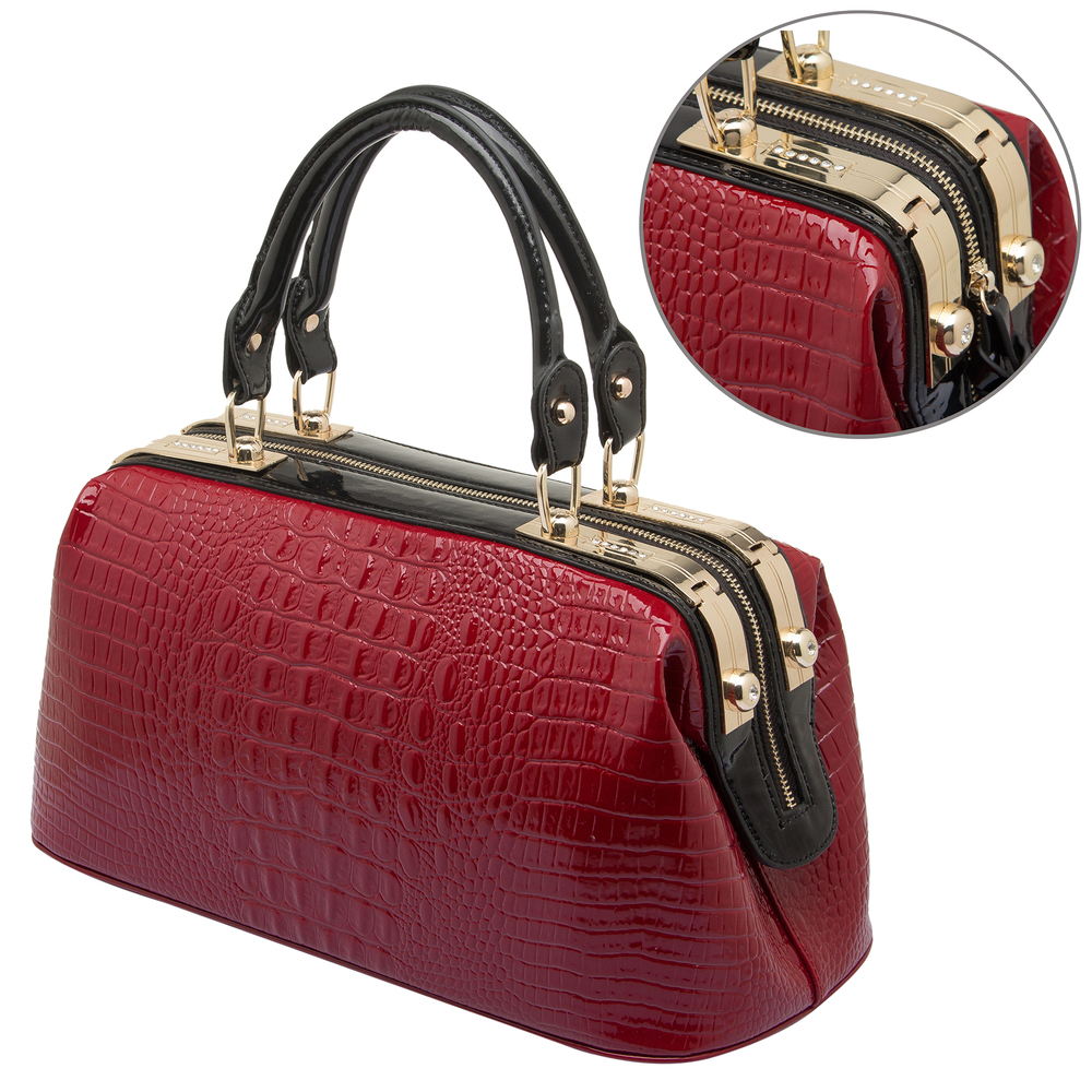 ELPIDA Red High Gloss Faux-Crocodile Tote Purse Detail
