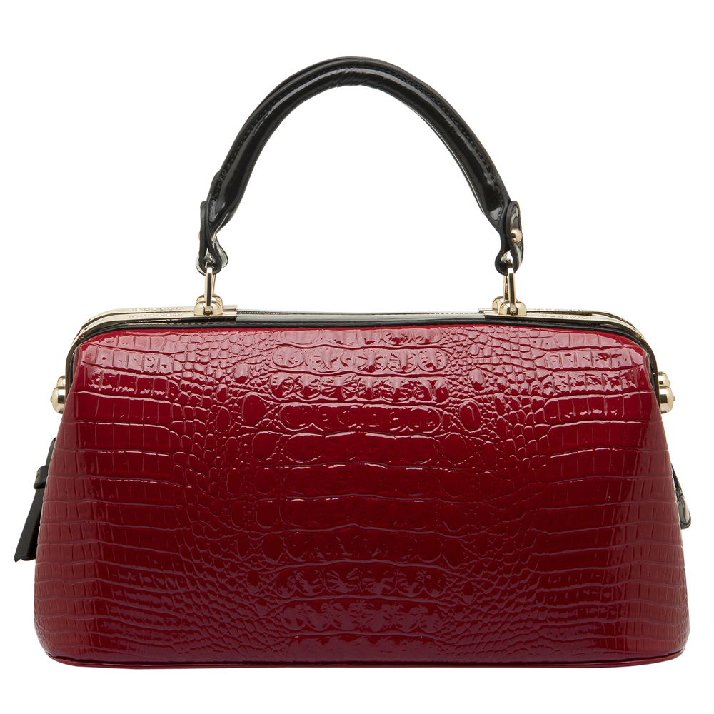 ELPIDA Red High Gloss Faux-Crocodile Tote Purse Front