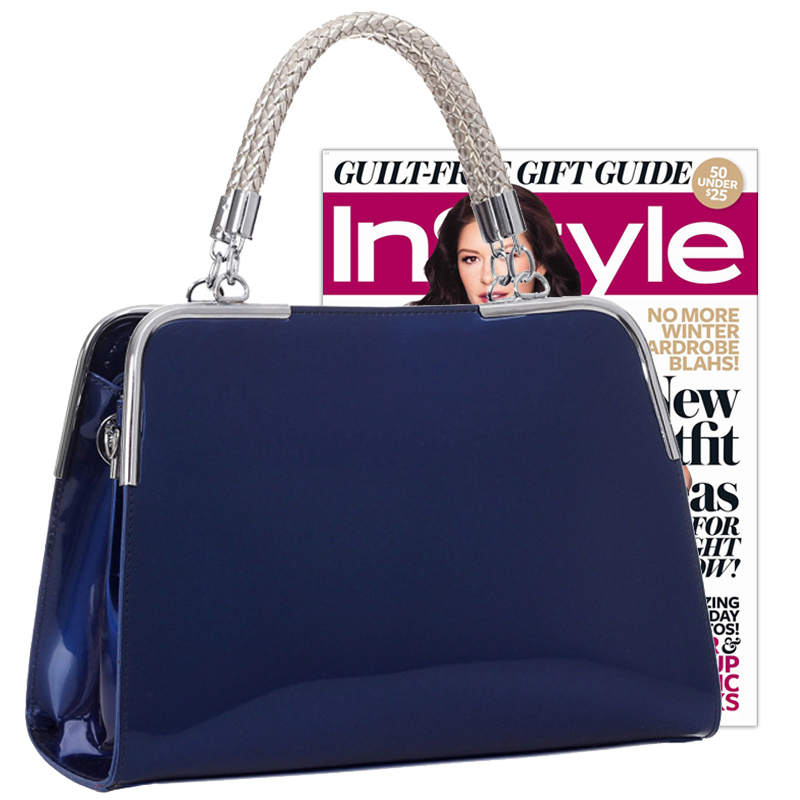 MATANA Navy Blue Gloss Tote Purse Size