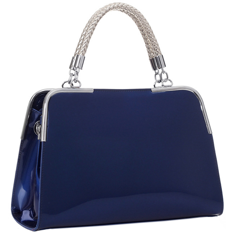 MATANA Navy Blue Gloss Tote Purse Main