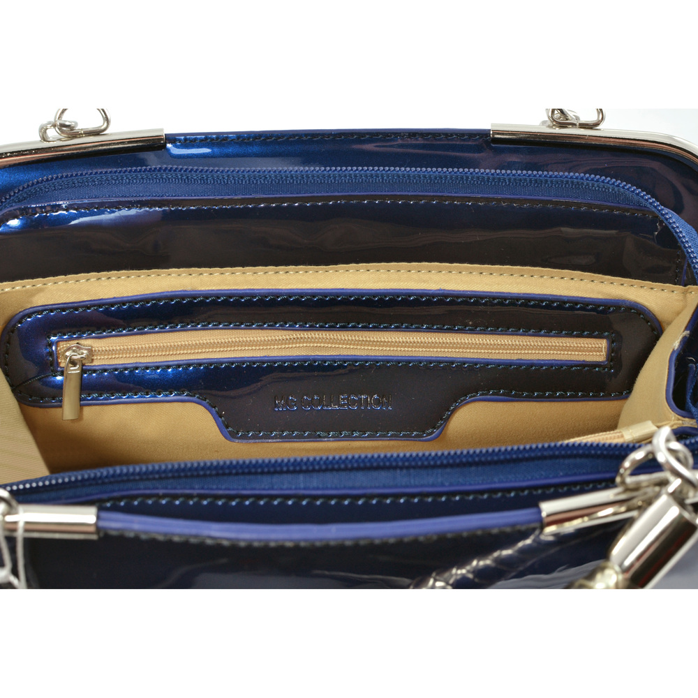 MATANA Navy Blue Gloss Tote Purse Interior