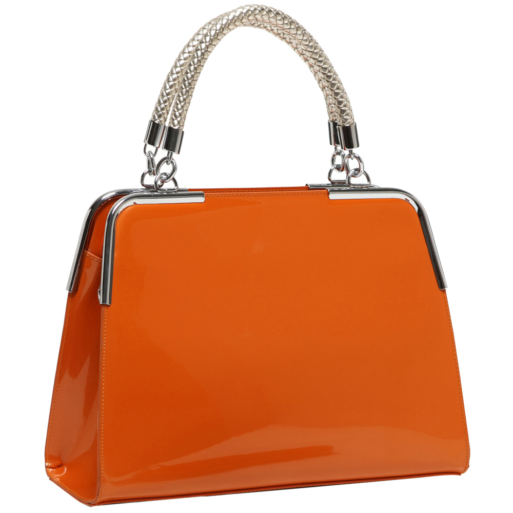 MATANA Orange Gloss Tote Purse Main