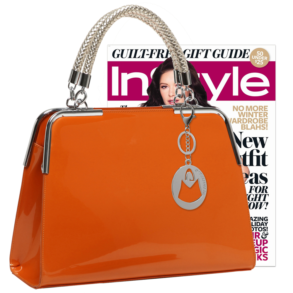 MATANA Orange Gloss Tote Purse Size