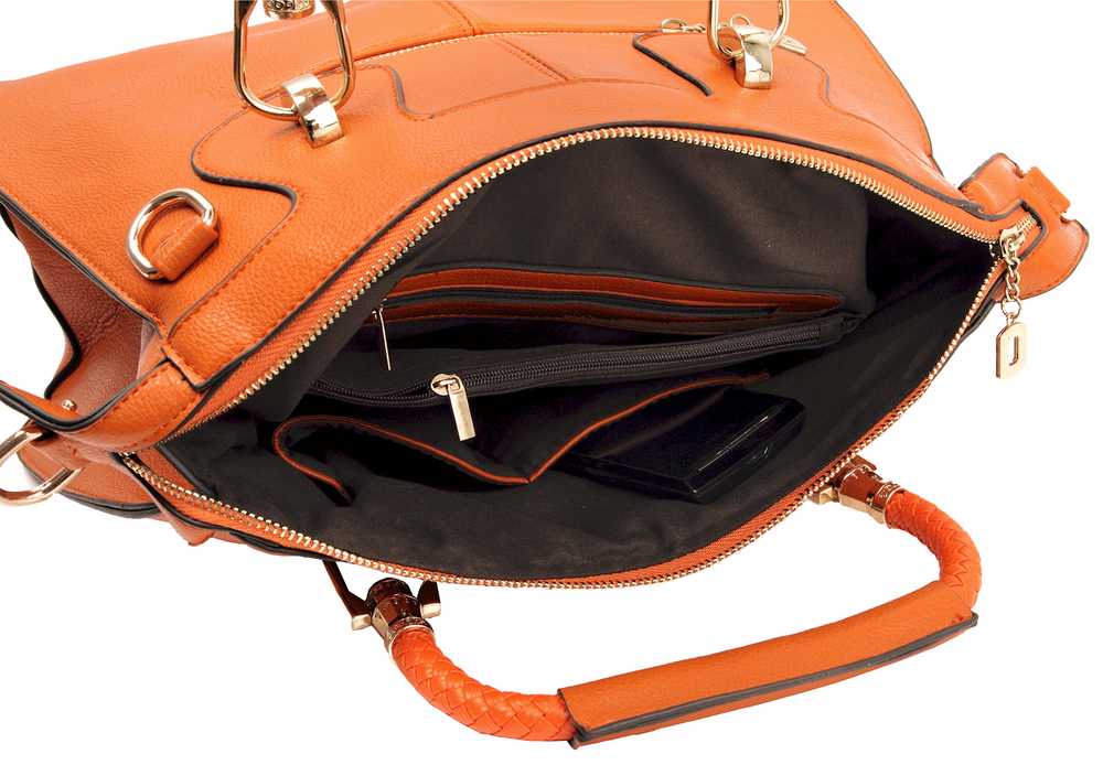 MARISSA Orange Doctor Style Handbag Interior