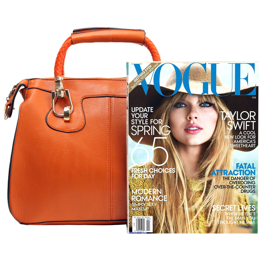 MARISSA Orange Doctor Style Handbag Size