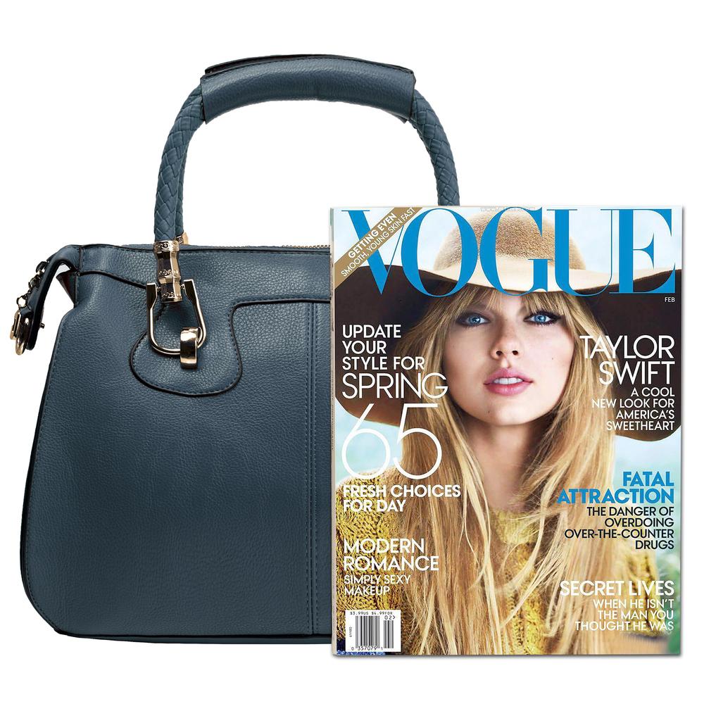 MARISSA Navy Blue Doctor Style Handbag Size