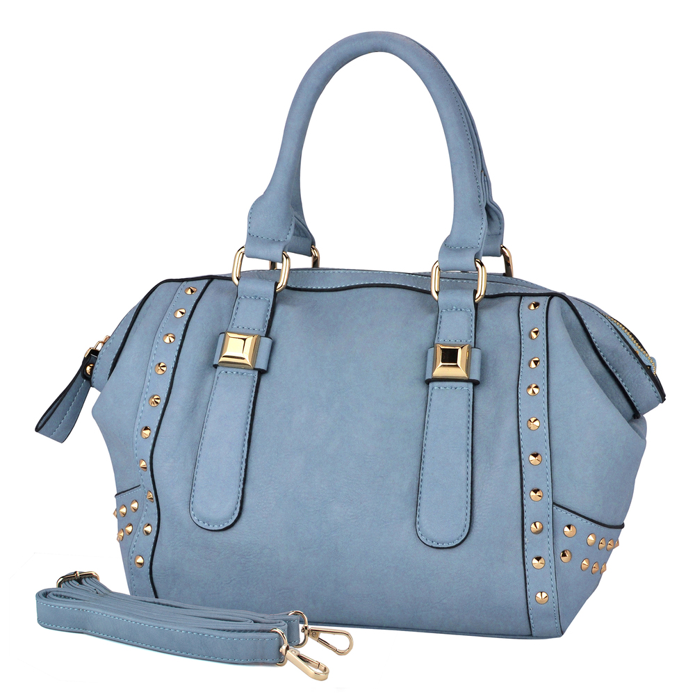QIEA Blue Gold Studded Tote Purse Main