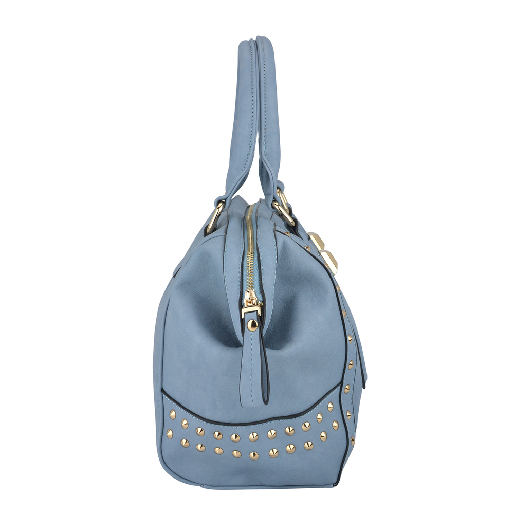 QIEA Blue Gold Studded Tote Purse Side Image